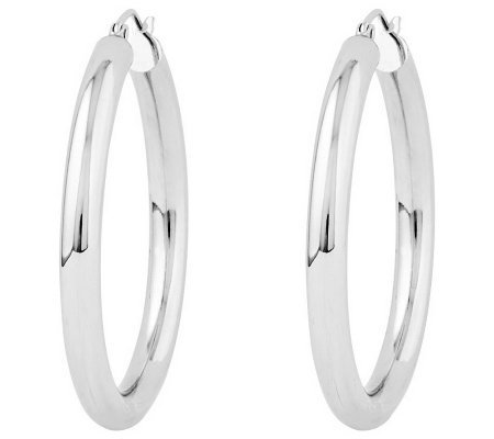 "Polished 1-5/8"" Round Hoop Earrings, 14K"