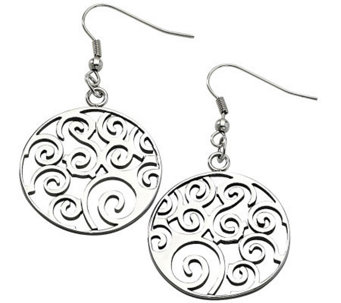 Stainless Steel Filigree Swirl Dangle Earrings - J310486