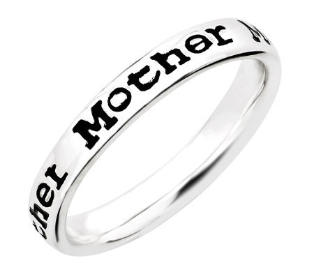 "Simply Stacks Sterling Enamel ""Mother"" Band Ring"