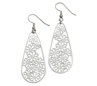 Stainless Steel Elongated Floral Teardrop Earrings - J311886