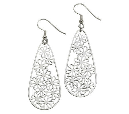 Stainless Steel Elongated Floral Teardrop Earrings