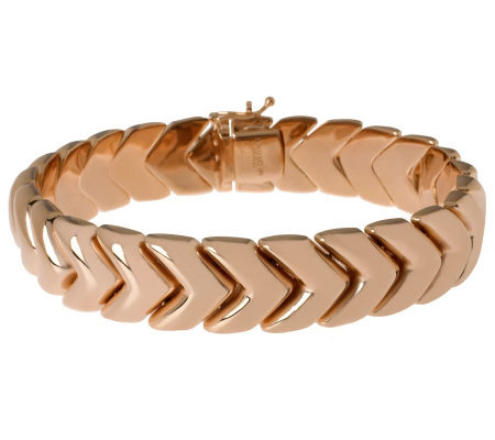 "Bronzo Italia Polished 8"" Arrow Design Bracelet"