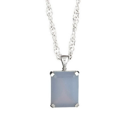 Sterling Emerald Cut Gemstone Pendant w/ Chain