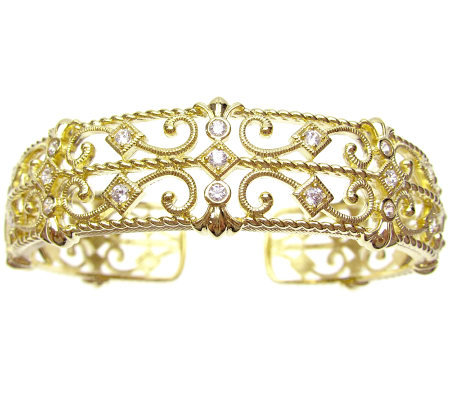 Judith Ripka Diamonique Hinged Cuff, 14K Gold Clad