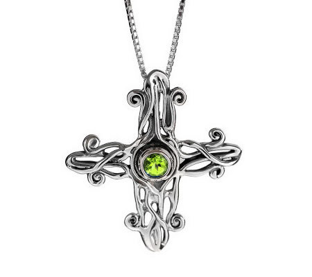 Hagit Gorali Sterling Gemstone Cross Pendant