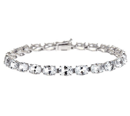Sterling Silver 20.00 ct tw White Topaz TennisBracelet