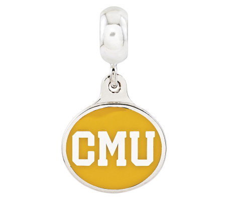Sterling Silver Central Michigan University Dangle Bead