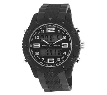 Men's USMC Regimen Black Analog-Digital Chronograph Watch - J315386