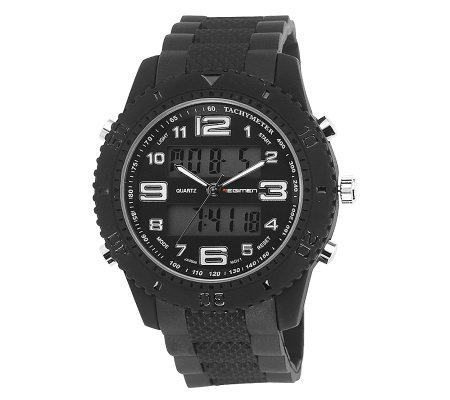Men's USMC Regimen Black Analog-Digital Chronograph Watch