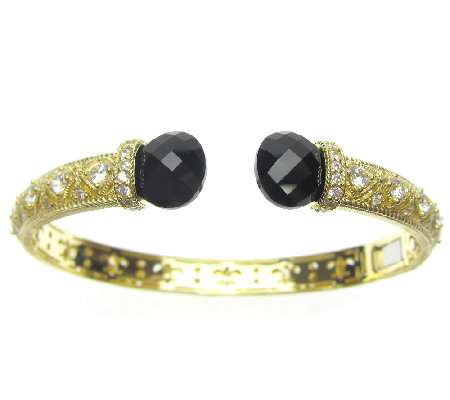 Judith Ripka Sterling/14K Clad Diamonique & Black Onyx Cuff