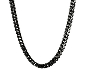 "Black Ion-Plated Stainless Steel Foxtail ChainNecklace, 22"" - J316786"