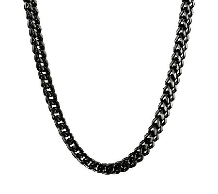 Black Ion-Plated Stainless Steel Foxtail ChainNecklace, 22""