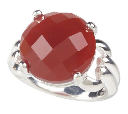Sterling Round Faceted Carnelian Ring