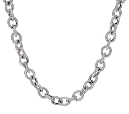 "Italian Silver Sterling 24"" Textured & Polished Rolo Necklace, 44.4g"