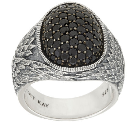 Scott Kay Sterling & Pave' Black Spinel Guardian Angel Ring
