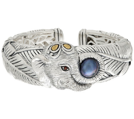 JAI Sterling & 14k Cultured Mabe Pearl Elephant Cuff Bracelet