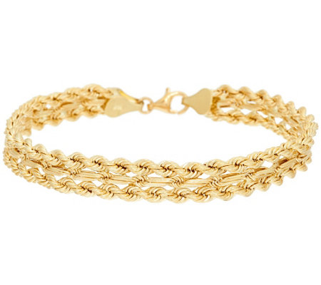 "18K Gold 7-1/4"" Triple Row Rope Design Bracelet, 6.9g"