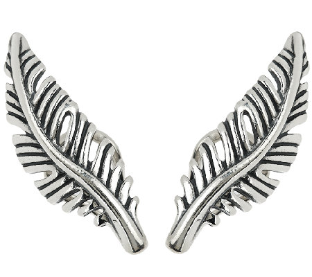 Sterling Silver Feather Ear Climber Earrings by American West