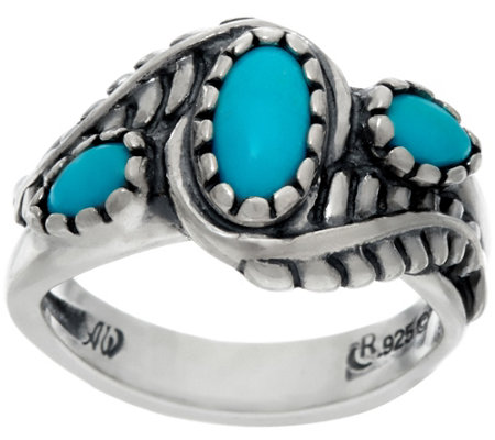 Sterling Silver Sleeping Beauty Turquoise Leaf Design Ring by American West