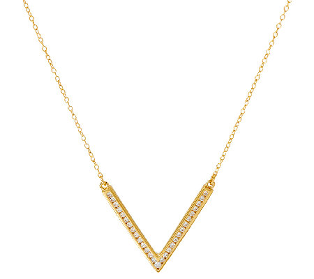 Diamonique Chevron Design Necklace, Sterling or 14K Clad