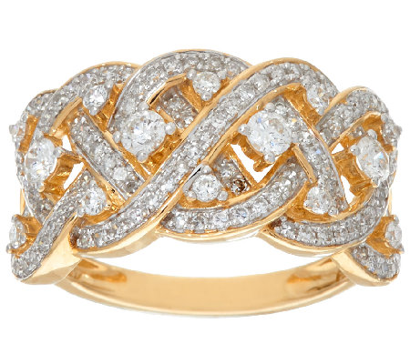 Wide Braided Diamond Ring, 14K Gold, 3/4 cttw, by Affinity