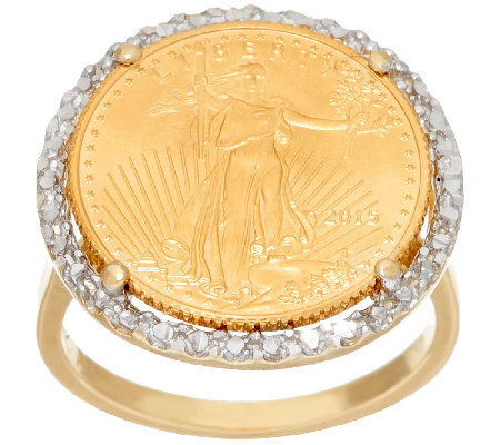 14K/22K Gold Liberty Coin Diamond Cut Bold Ring