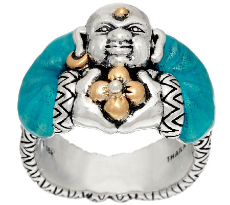 Barbara Bixby Sterling & 18K Yellow Gold Enamel Buddha Ring