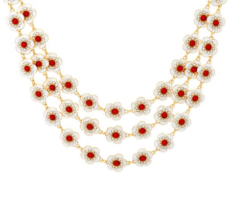 "Joan Rivers Jeweled Florets Three-Row 17"" Necklace w/ 3"" Extender"
