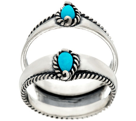 Carolyn Pollack Sleeping Beauty Turquoise Sterling Silver Ring Guard