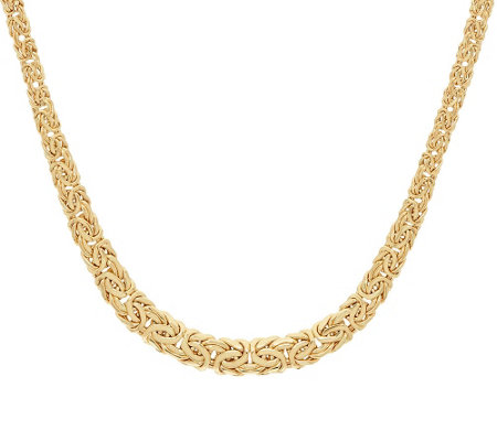 "14K Gold 16"" Polished Graduated Byzantine Necklace, 9.5g"
