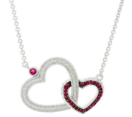 Judith Ripka Sterling Silver Double Heart 0.45 cttw Ruby Necklace