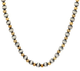 "Sterling & Brass Bead 17"" Necklace by American West - J329186"