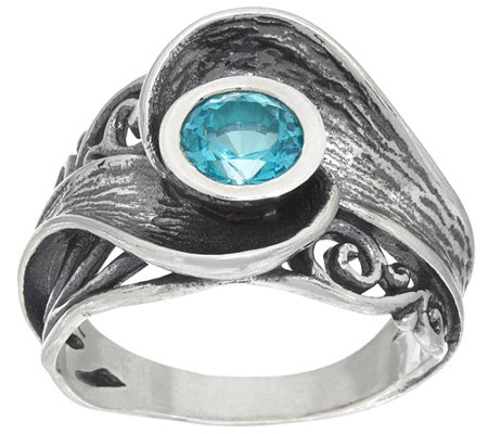 Sterling Silver Blue Apatite and Lace Design Ring by Or Paz, 0.70 ct