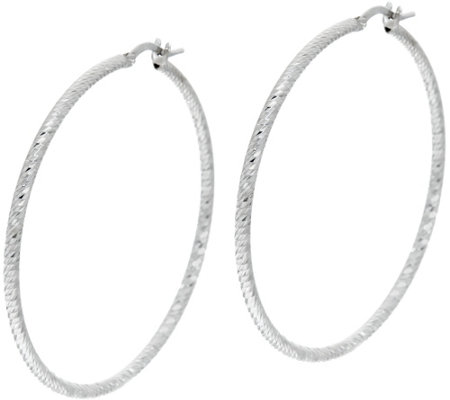"VicenzaSilver Sterling 1-3/4"" Diamond Cut Round Hoop Earrings"