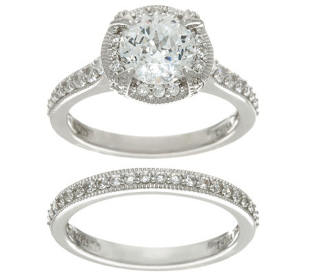 Diamonique 100-Facet 2-Piece Bridal Ring Set, Sterling