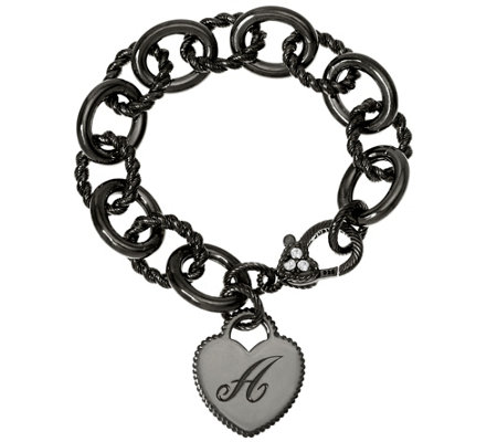 """As Is"" Judith Ripka Sterling Black Verona Initial Heart Bracelet, 37.8g"