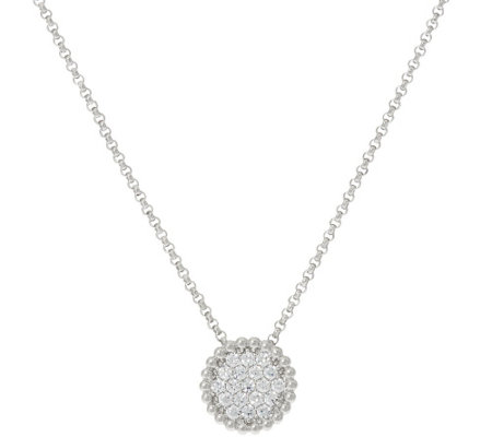 """As Is"" Vicenza Silver Sterling Pave' Diamonique Pendant w/Chain"