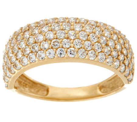 Diamonique Five Row Pave' Band Ring, 14K Gold