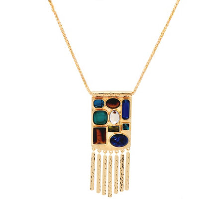 "C. Wonder 30"" Wheat Chain Multi-Stone Station Necklace"