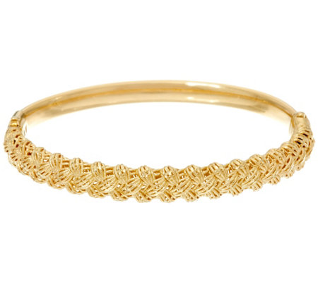 Italian Gold X-Small Diamond Cut Hinged Bangle, 11.9g
