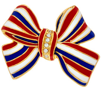 """As Is"" Joan Rivers Enamel and Pave' Patriotic Bow Pin - J333286"