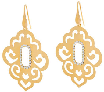 """As Is"" Bronze Scroll Cut-Out Crystal Dangle Earrings by Bronzo Italia - J333386"