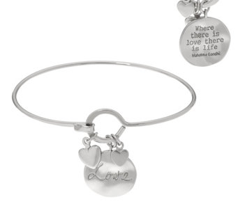Silvertone Inspirational Quote Multi-Charm Bangle - J333686