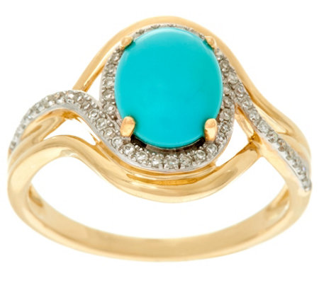 """As Is"" Oval Sleeping Beauty Turquoise & Diamond Ring, 14K, 1/7 cttw"