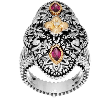 Barbara Bixby Sterling & 18K Filigree Gemstone Ring