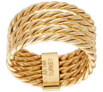 14K Gold Polished 5-Row Rope Design Stack Rings - J334486
