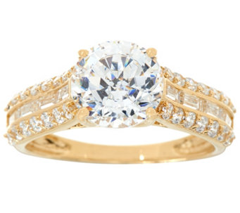 Diamonique Round and Baguette Bridal Ring, 14K Gold - J334686