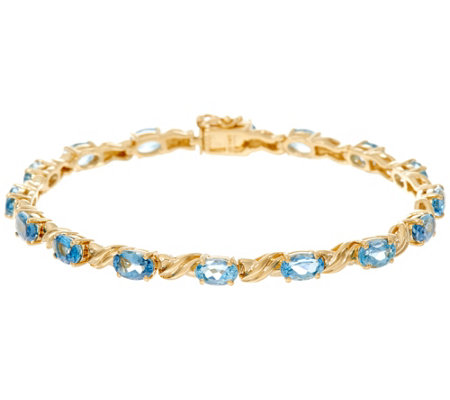 Santa Maria Aquamarine 7 1 4 Tennis Bracelet 14k 5 50 Cttw