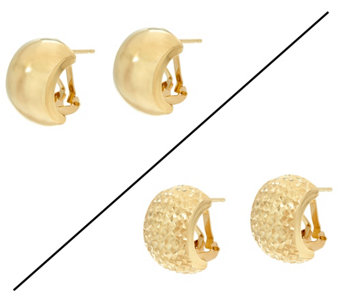 """As Is"" Dieci Omega Back Hoop Earrings 10K Gold - J335786"