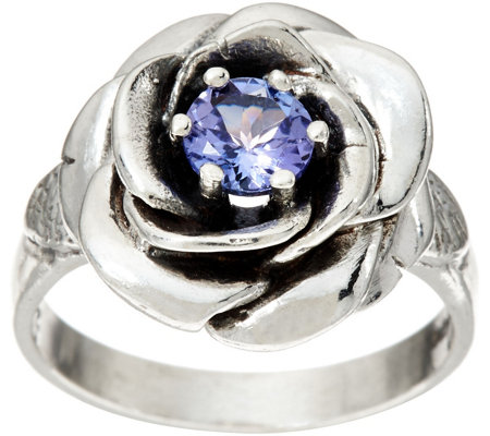 Or Paz Sterling Silver 0.45 Cttw. Tanzanite Rose Ring
